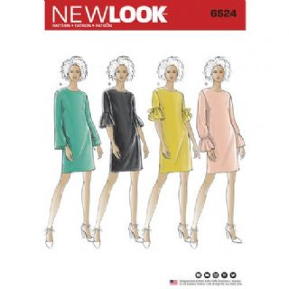 6524 New Look Pattern: Misses' Dress with Sleeve Variations